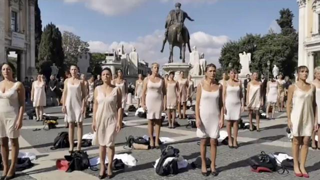 Italy Alitalia Strip Protest
