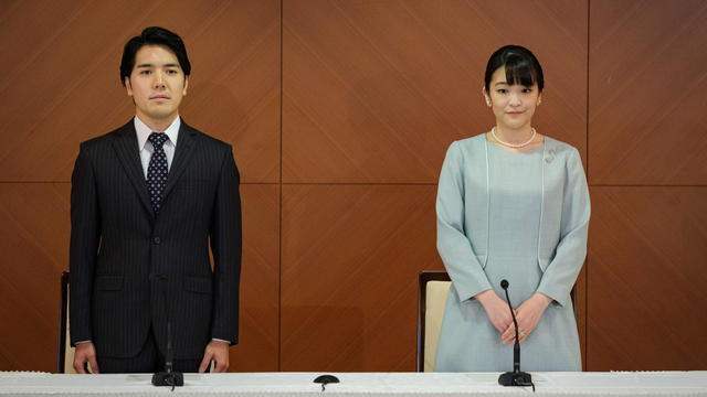 Japan's Princess Mako and her husband Kei Komuro address a news conference in Tokyo